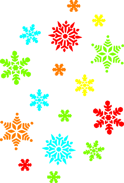402x592 Colorful Snowflakes Clip Art