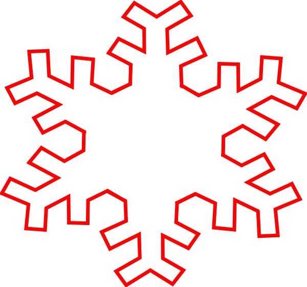 600x560 Red Snowflake Outline Clip Art