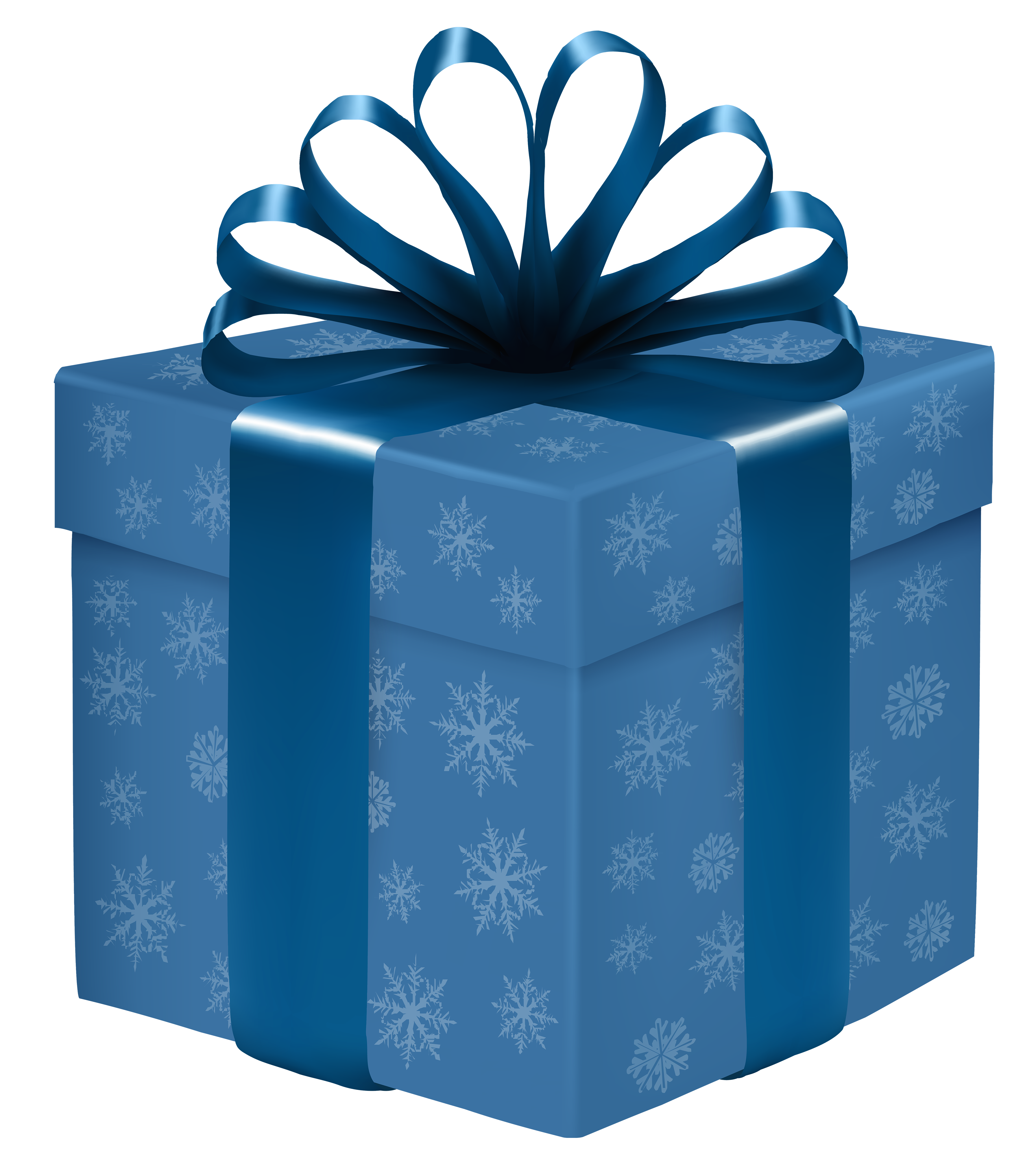 3583x4000 Blue Gift Box With Snowflakes Png Clipart