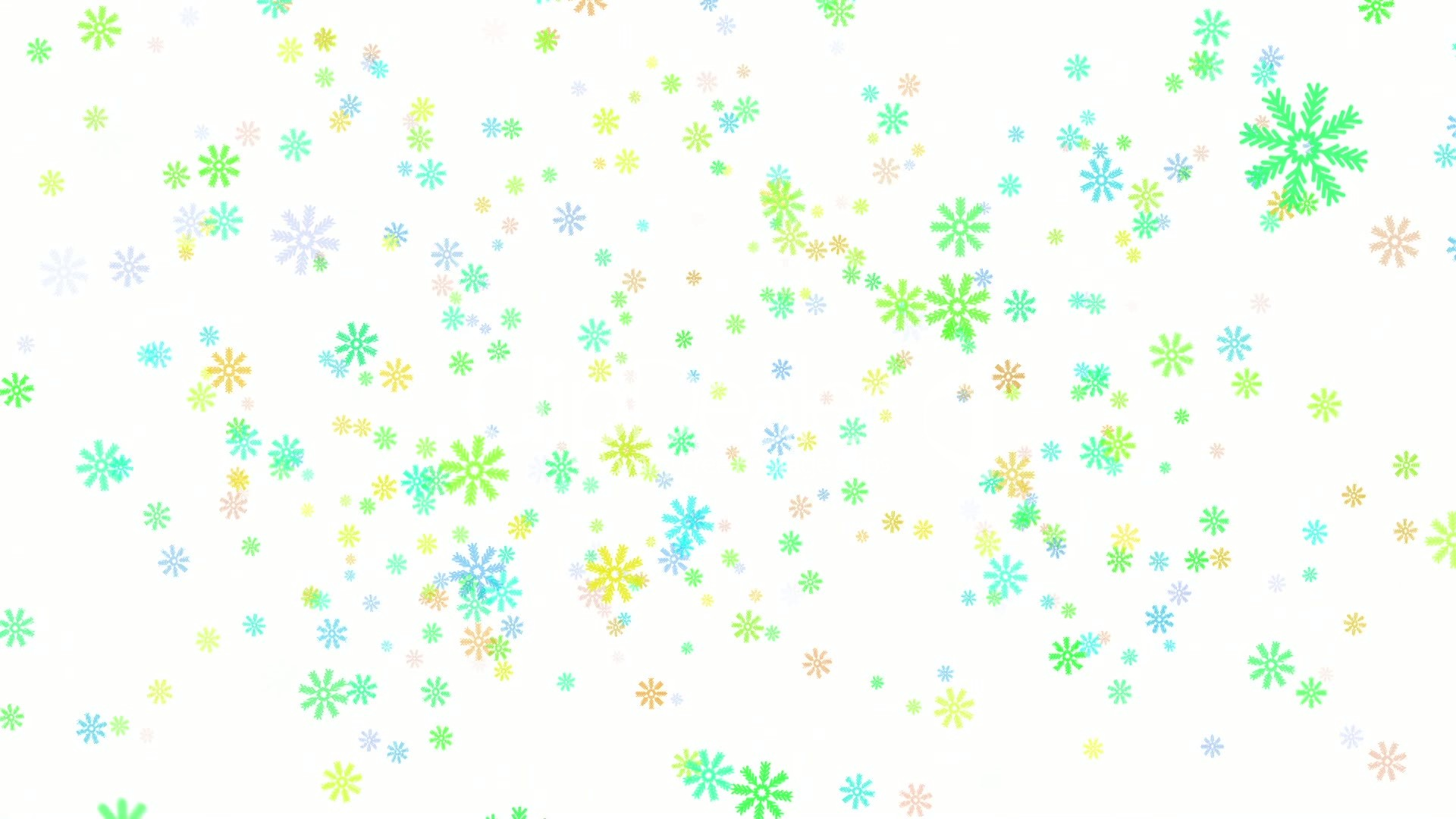 1920x1080 Snow On White Background, Colorful Snowflakes, Loop Royalty Free
