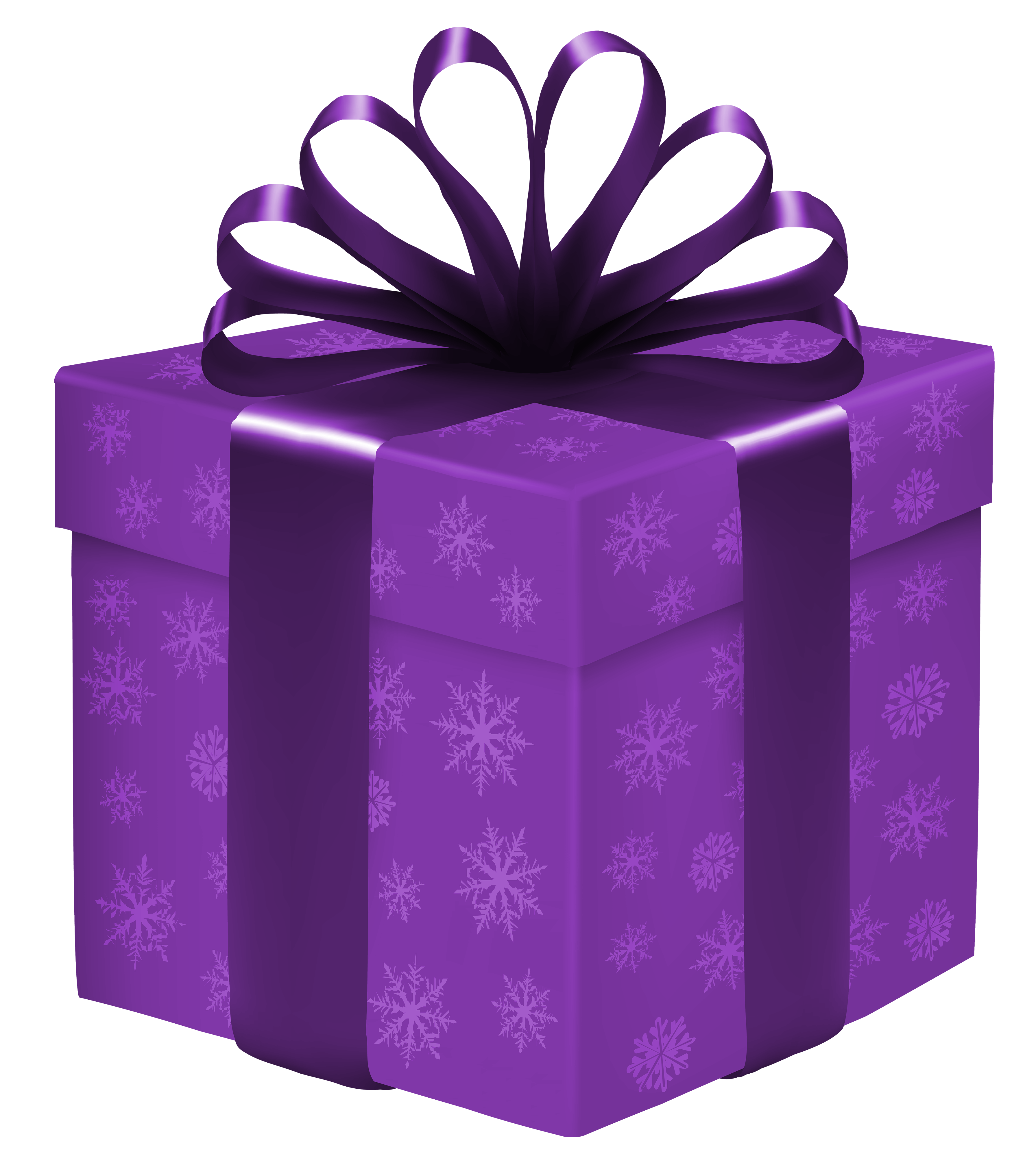 3583x4000 Purple Gift Box With Snowflakes Png Clipart