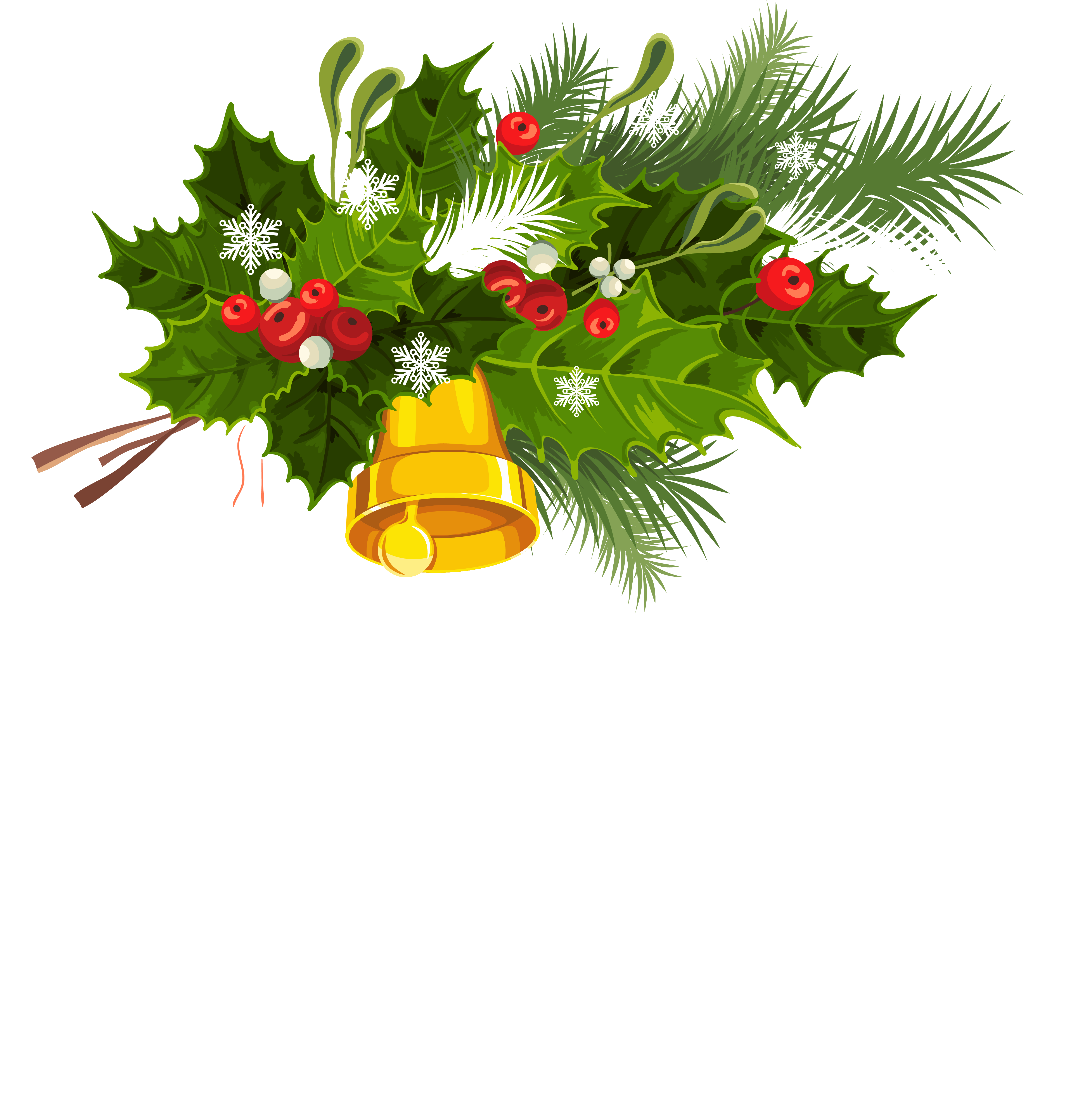 4999x5066 Transparent Christmas Bell Mistletoe And Snowflakes Png Clipart