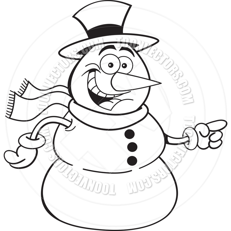 940x940 Cartoon Pointing Snowman (Black And White Line Art) By Kenbenner