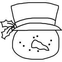 200x200 Frosty Snowman Head Clipart Outline