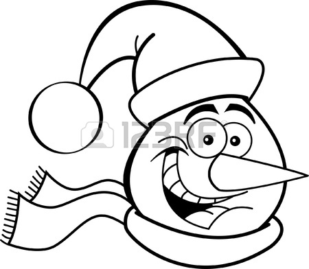450x392 Black And White Illustration Of A Snowman Head Royalty Free