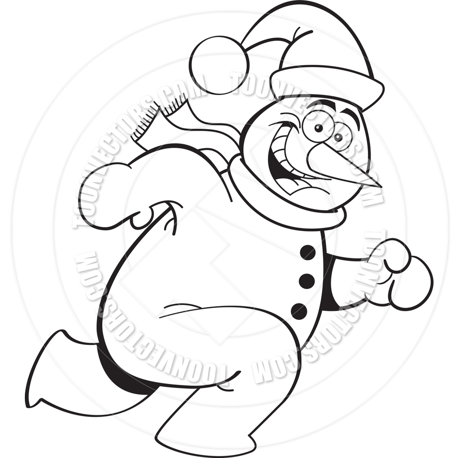 940x940 Cartoon Running Snowman (Black And White Line Art) By Kenbenner