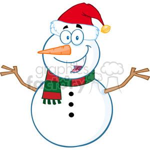 300x300 Royalty Free Royalty Free Rf Clipart Illustration Happy Snowman