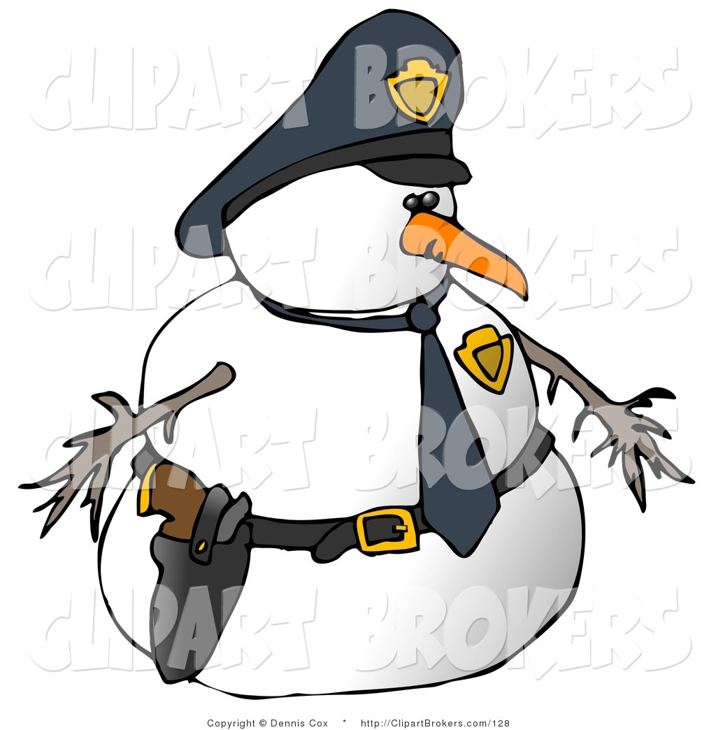 1024x1044 Clip Art Of A Snowman Police Officer Facing Right By Djart