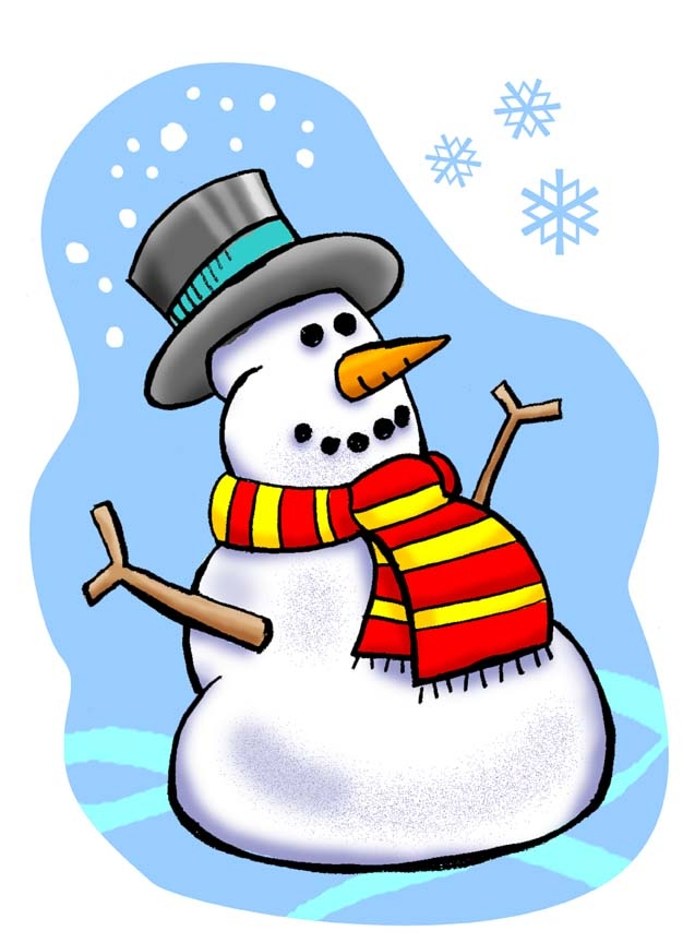 637x864 January Snowman Calendar Clipart