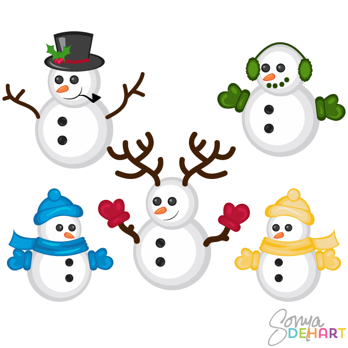 700x700 Vector Clip Art Christmas Snowmen