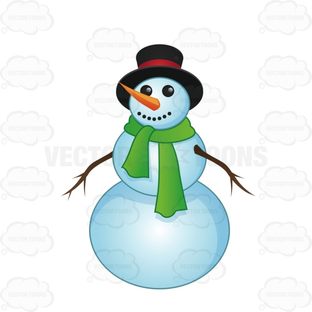 1024x1024 Smiling Snowman With A Green Scarf Vector Clip Art Cartoon