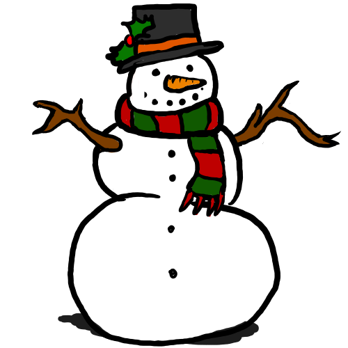500x500 Free Cute Snowman With Red Amp Green Scarf Clip Art