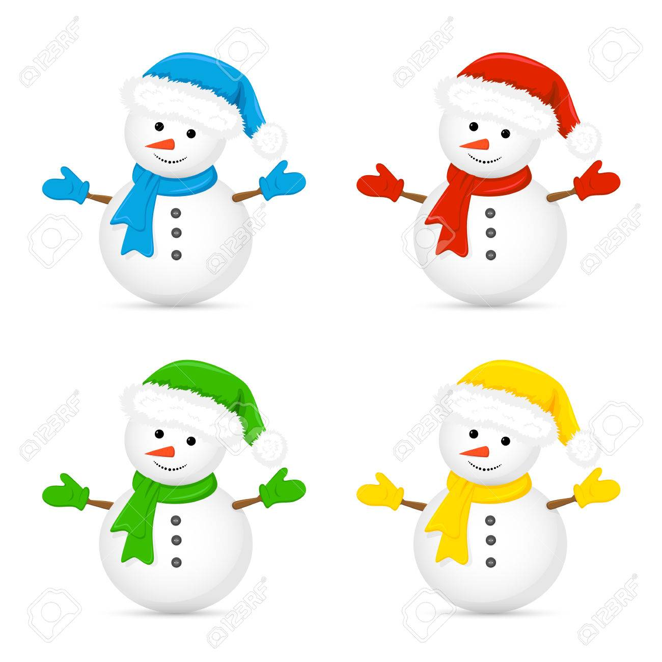 1300x1300 Christmas Snowman In Santa Hat And Red Scarf Isolated On White