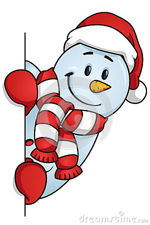 300x450 Funny Snowman Hiding Behind The Blank. Vector Illustration