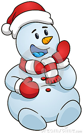 278x450 Sitting Snowman. Vector Illustration. Christmas Theme. Sitting
