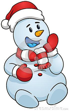 278x450 Sitting Snowman. Vector Illustration. Christmas Theme. Sitting