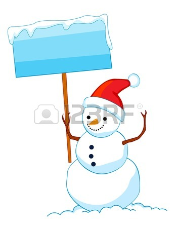 350x450 A Border Illustration Featuring A Smiling Snowman With Falling