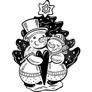 300x300 Royalty Free Two Snowmen In Love 381125 Vector Clip Art Image