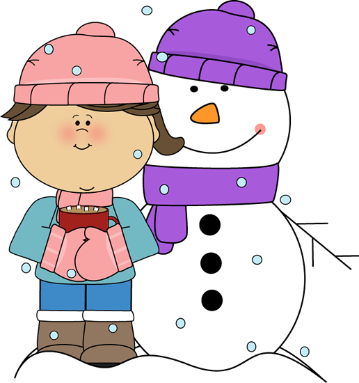 516x550 Girl Drinking Cocoa With Snowman Clip Art