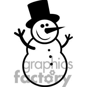 300x300 Black And White Snowman Clip Art Cliparts