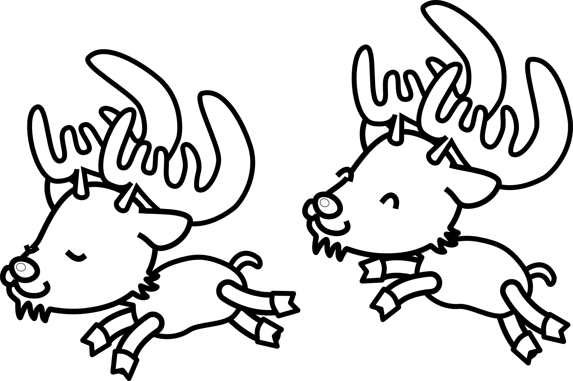 1979x1315 Reindeer Clipart Black And White