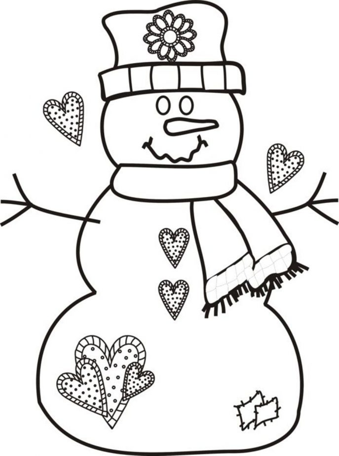 687x924 Coloring Coloring Page Snowman Color Sheet Printable Pages Free