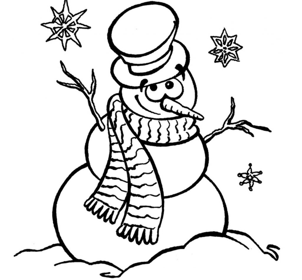 1024x947 Snowman Coloring Page