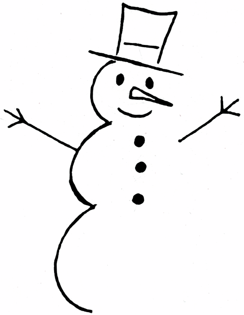 500x644 Snowman Clipart Black And White