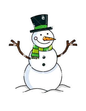 277x357 Smiling Snowman Wearing Santa Hat Cartoon Vector Clipart