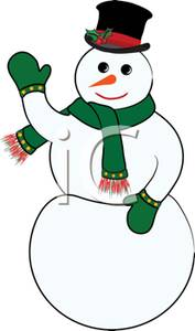 177x300 Colorful Cartoon Of A Festive Snowman Waving