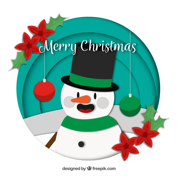 626x626 Decorative Christmas Background With Snowman Vector Free Download