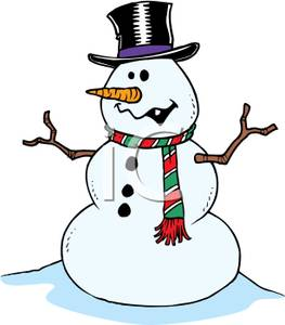 263x300 Free Clipart Image A Goofy Snowman Wearing A Top Hat