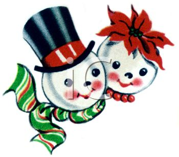 350x307 Royalty Free Clipart Image Vintage Snowman And His Wife