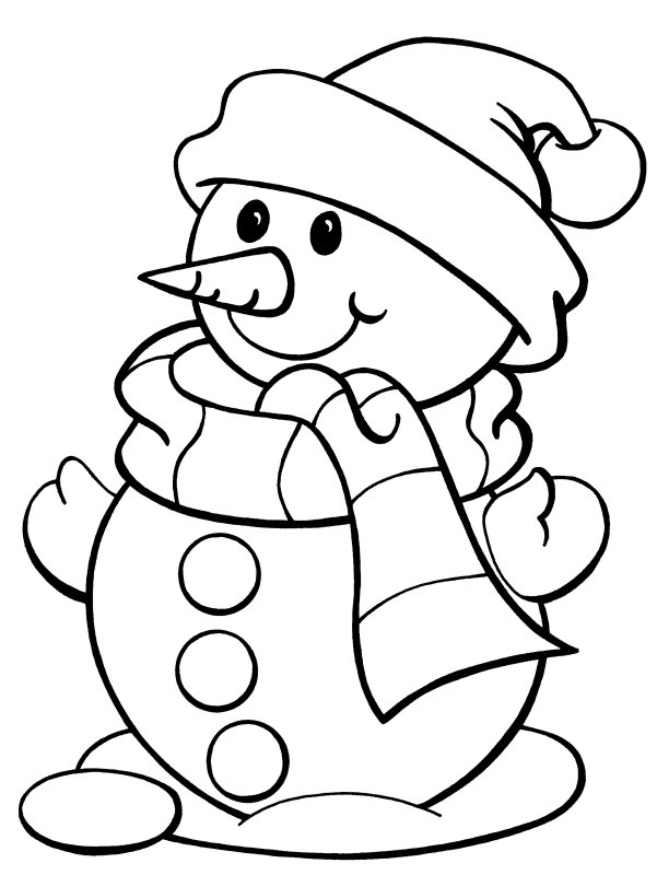 601x800 Colouring Pages Snowman