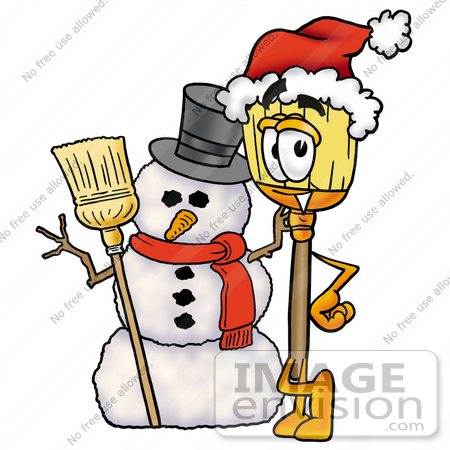 450x450 Clip Art Graphic Of A Straw Broom Cartoon Character With A Snowman