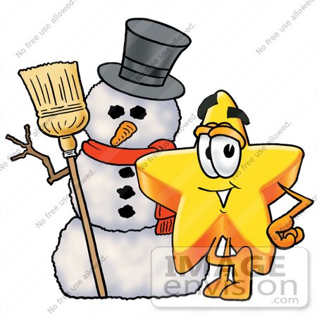 450x450 Clip Art Graphic Of A Yellow Star Cartoon Character With A Snowman