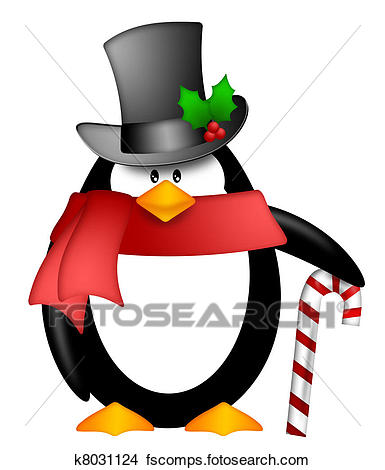 385x470 Drawings Of Penguin With Top Hat Red Scarf And Candy Cane Clipart