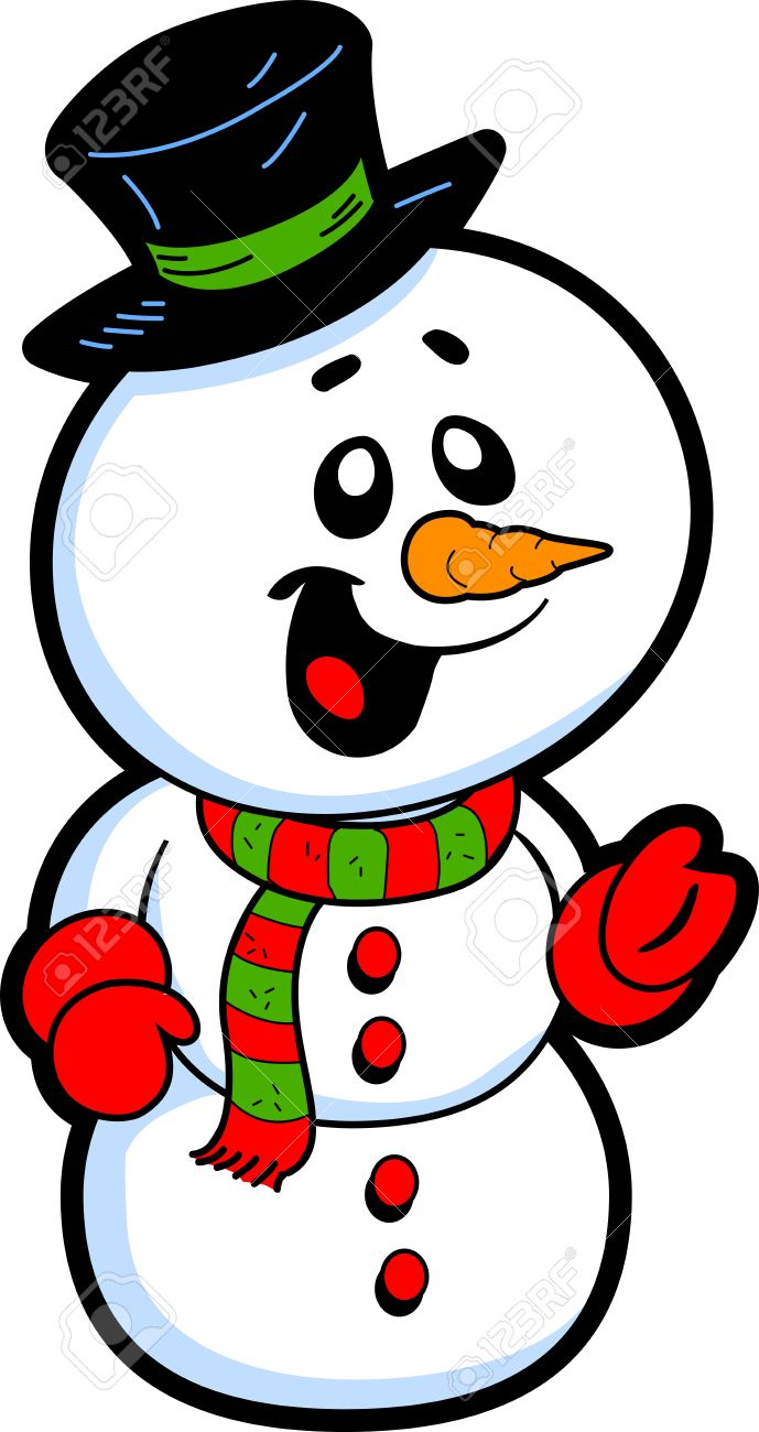 689x1300 Happy Smiling Snowman With Top Hat And Carrot Nose Royalty Free