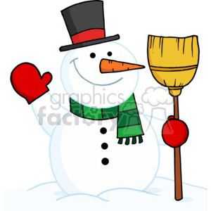 300x300 Royalty Free Snowman In A Red And Black Top Hat Wearing A Green