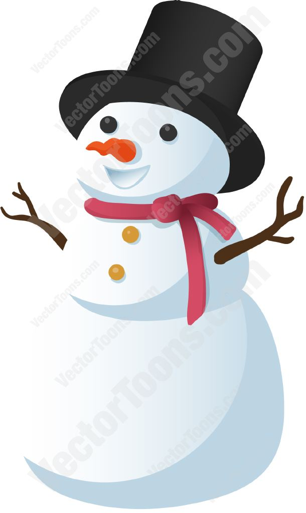 610x1024 Snowman With Top Hat Cartoon Clipart