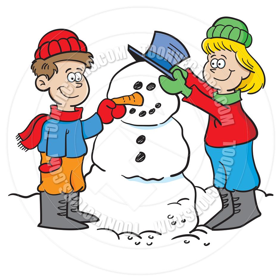 940x940 Cartoon Kids Building A Snowman By Kenbenner Toon Vectors Eps