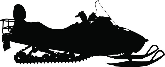 653x264 Silhouette Snowmobile On White Vector Illustration Premium Clipart