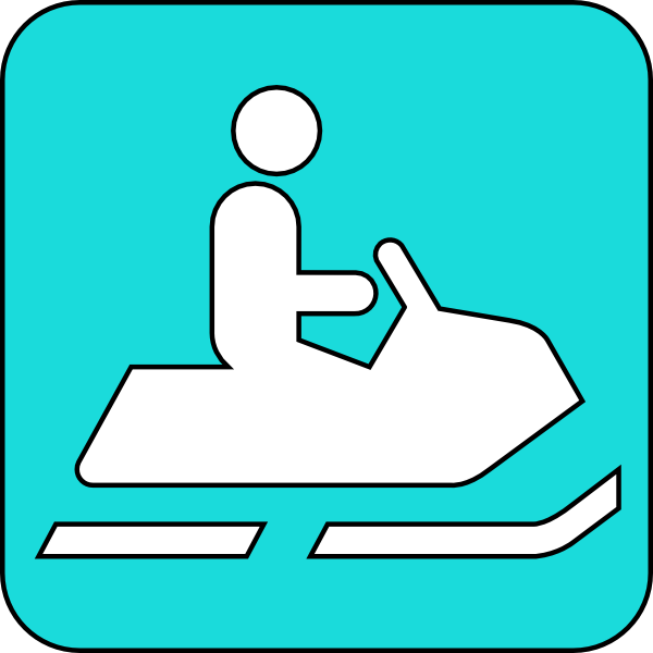 600x600 Snowmobile Symbol Blue Clip Art
