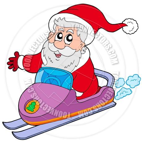 460x460 Cartoon Santa Claus On Snowmobile By Clairev Toon Vectors Eps