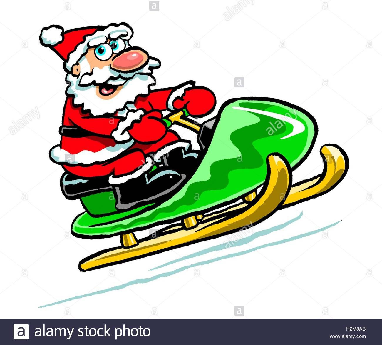 1300x1173 Cartoon Caricature Of Santa Clause In Red Suit Riding Snowmobile