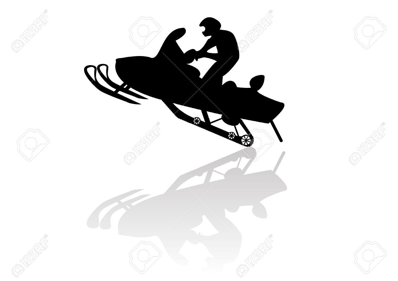 1300x918 Snowmobile Motorbike Silhouette Illustration Background Royalty