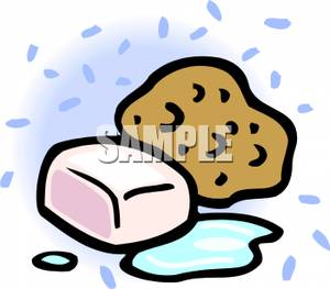 300x263 Sponge And Bar Of Soap Clipart Picture