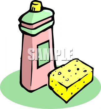 325x350 Picture Of A Sponge And Bottle Of Dish Soap In A Vector Clip Art