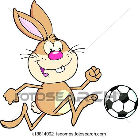 450x446 Clipart of Rabbit Playing With Soccer Ball k18814092