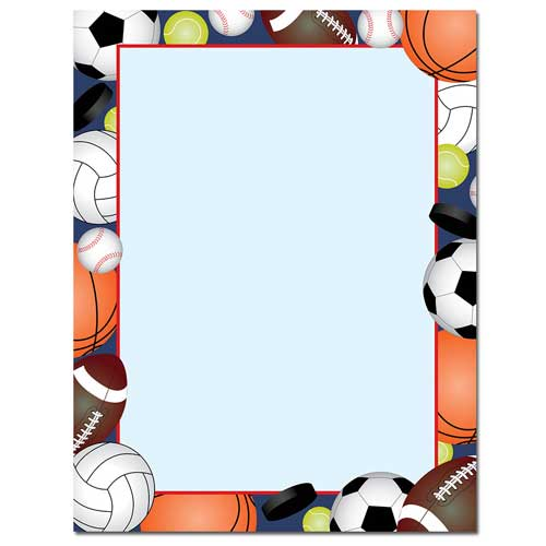 500x500 Team Sports Balls Border Paper